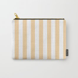 Narrow Vertical Stripes - White and Sunset Orange Carry-All Pouch