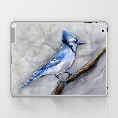 Blue Jay Watercolor Bird Laptop & iPad Skin
