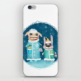 Funny illustration with sheep and rabbit iPhone Skin
