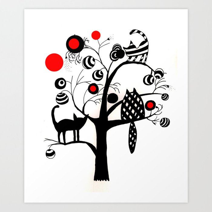 cats and fruits Art Print