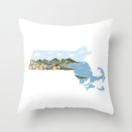 Massachusetts Illustrated Graphic Throw Pillow