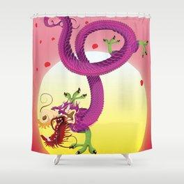 Far East Dragon print Shower Curtain