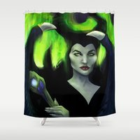 maleficent Shower Curtains featuring Maleficent by Nicole M Ales