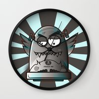 fault Wall Clocks featuring Fault 45 03 (its not his fault) by Face Leakage