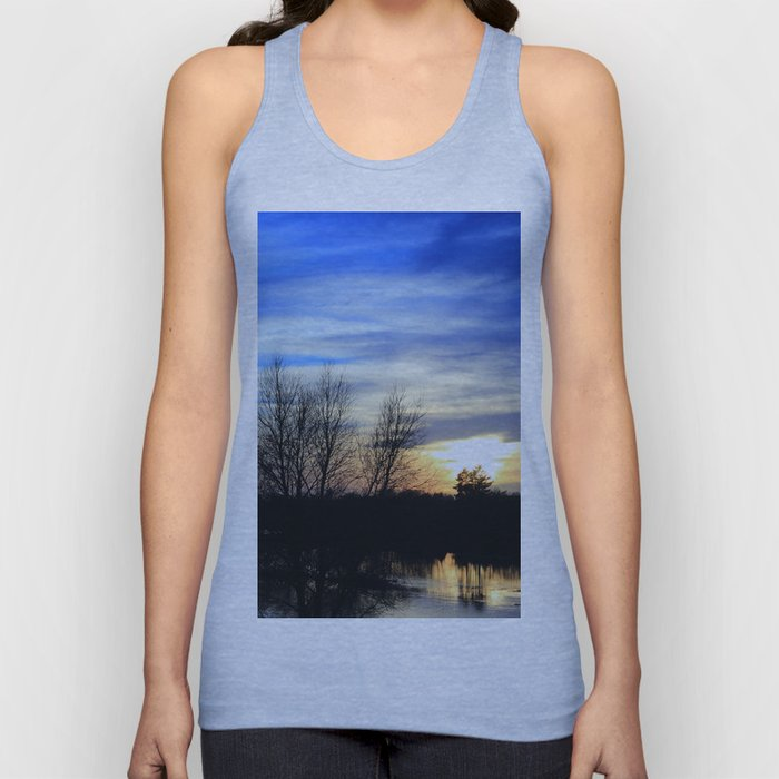 River in Flood at Sunset Unisex Tank Top