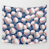 baseball Wall Tapestries featuring Baseball by joanfriends