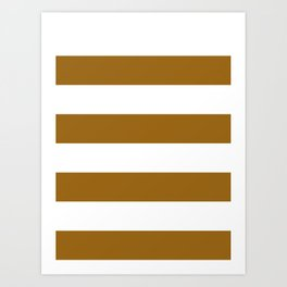 Wide Horizontal Stripes - White and Golden Brown Art Print