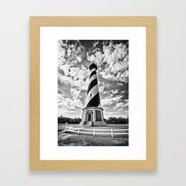 B&W - Cape Hatteras Lighthouse, Outer Banks NC Framed Art Print