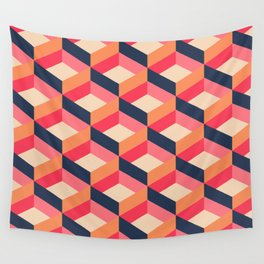 Retro Geo - Navy & Pink Wall Tapestry