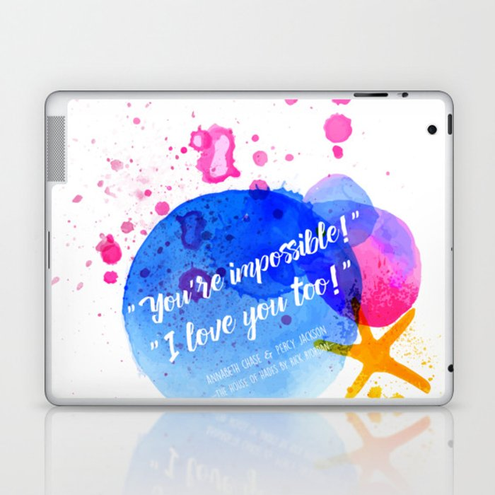"""Percy Jackson Percabeth House of Hades """"I love you too!"""" Quote Laptop & iPad Skin"""