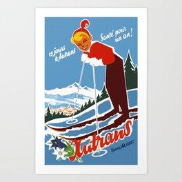 Vintage Autrans France Ski Travel Art Print