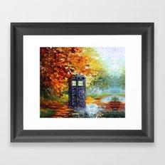 starry Autumn blue phone box Digital Art iPhone 4 4s 5 5c 6, pillow case, mugs and tshirt Framed Art Print