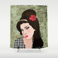 amy hamilton Shower Curtains featuring Amy  by Pendientera