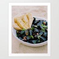 Mussels & Bread Art Print