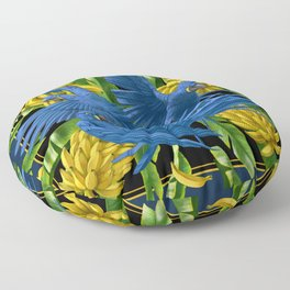 Hyacinth Macaws and bananas Stravaganza (black background). Floor Pillow