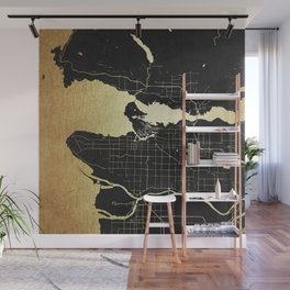 Vancouver Canada Black and Gold Map Wall Mural