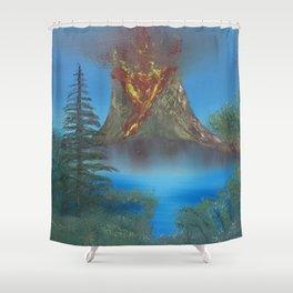 Erupting volcano Shower Curtain