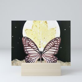 Gold Dust Butterfly Eco Print Moon Mini Art Print