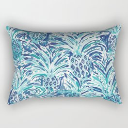 PINEAPPLE WAVE Blue Painterly Watercolor Rectangular Pillow