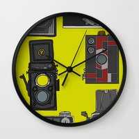 cameras Wall Clocks featuring Cameras by Illustrated by Jenny