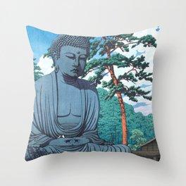 The Great Buddha At Kamakura - Vintage Japanese Woodblock Print Art Throw Pillow