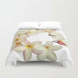 Plumeria Tropical Flower Garland Duvet Cover