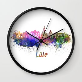 Lille skyline in watercolor Wall Clock