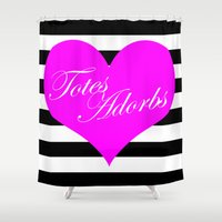 totes Shower Curtains featuring Totes Adorbs Purple Heart  by The Trendy Sparrow