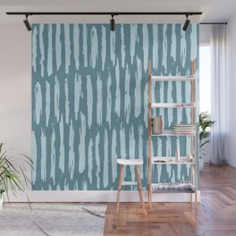 Vertical Dash Turquoise on Teal Blue Wall Mural