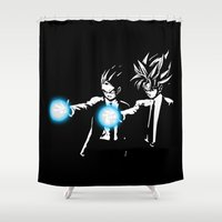 dbz Shower Curtains featuring DBZ Fiction by orangpalsu