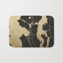 Seattle Black and Gold Map Bath Mat