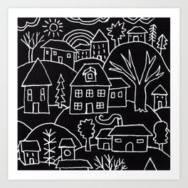 Suburban Day Art Print