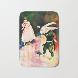 Alice in Wonderland White Rabbit Watercolour Bath Mat