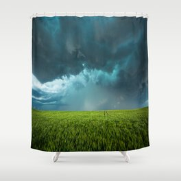 April Showers - Colorful Stormy Sky Over Lush Field in Kansas Shower Curtain