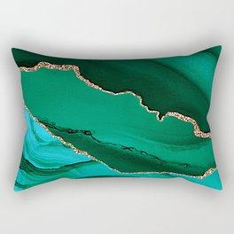 Emerald, Jade And Aquamarine Marble With Gold Veins Rectangular Pillow