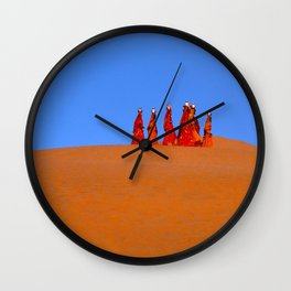 Women Carrying Water In The Thar Desert - Rajasthan, India Wall Clock