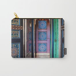 Moroccan painted doors and marble hallway in Marrakech, Morocco Carry-All Pouch