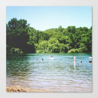 swim Canvas Prints featuring Swim by Christine Hall
