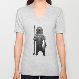 Harpoon Fishing Bear Unisex V-Neck