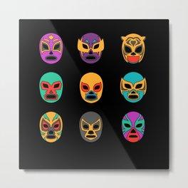 Mexican Wrestler Lucha Libre Masks Metal Print