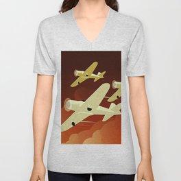 Art Deco Single Engine Planes Unisex V-Neck