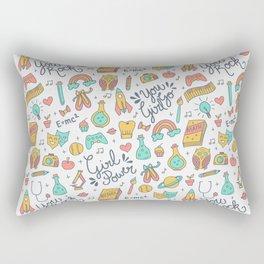 Girl Power - Coral + Aqua + Yellow Rectangular Pillow