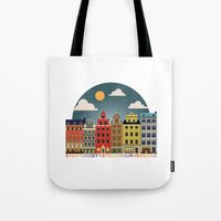 stockholm Tote Bags featuring Stockholm by HOONISME