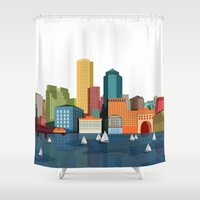boston Shower Curtains featuring Boston  by GoFe