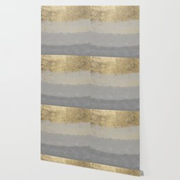 Geometrical ombre glacier gray gold watercolor Wallpaper