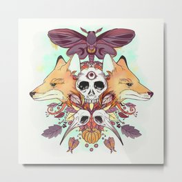 Foxes Hummingbird Skulls Autumn Artwork Metal Print