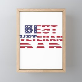 World's Best Veteran Dad Father's Day Gift American Flag Framed Mini Art Print
