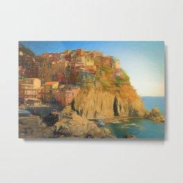 Cinque Terre Coast - Digital Colour Pencil Drawing Metal Print