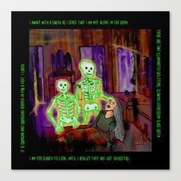 Glowing Green Skeleton Dream Canvas Print
