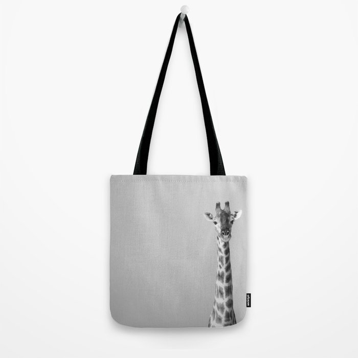 Giraffe Black And White Photography Tote Bag